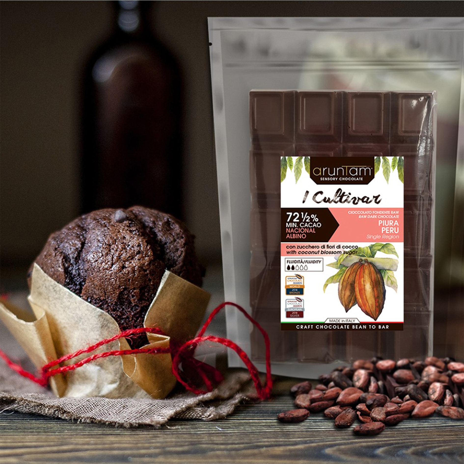 Cocoa pod and products with leaves on wooden background, top vie